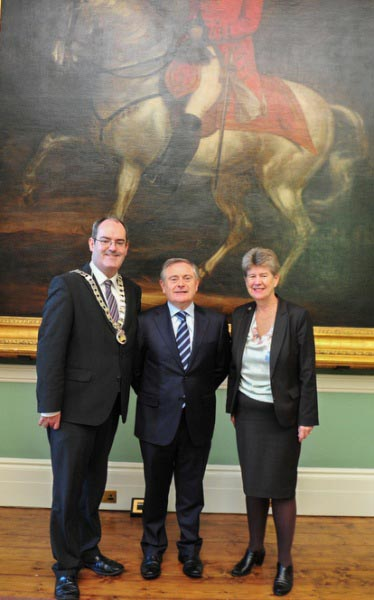 Ireland Wales Interreg Programme 20 year celebrations. From L to R: Cllr. Gerry Horkan, Cathaoirleach S&E Regional Assembly, Mr. Brendan Howlin TD, Minister for Public Expenditure and Reform and Ms. J