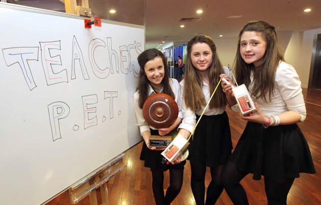Intermediate Category Winners Leah Barry, Aine Upton and Muireann Ni Tobin Gaelcholaiste Ui Chonba, Newcastlewest, Co. Limerick.  Teacher's Pet.