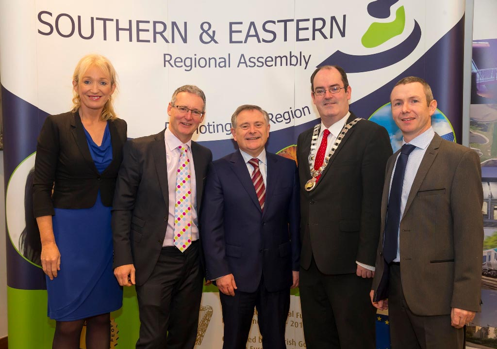 R to L: Ms. Derville Brennan, Programme Executive, S&E Regional Assembly. Mr. Stephen Blair, Director, S&E Regional Assembly. Mr. Brendan Howlin, TD, Minister for Public Expenditure and Reform. Cllr.