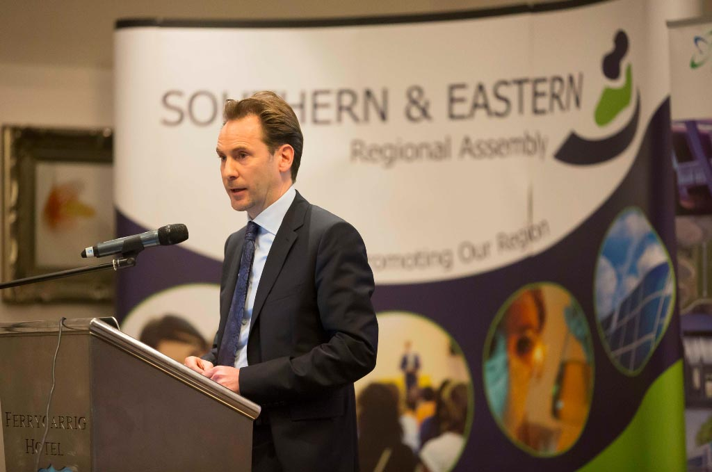 Mr. Robert Collins, Head of Office, Irish Regions Office, Brussels, presenting at the Regional Assemblies Joint Annual Conference 2014 in the Ferrycarrig Hotel, Wexford.