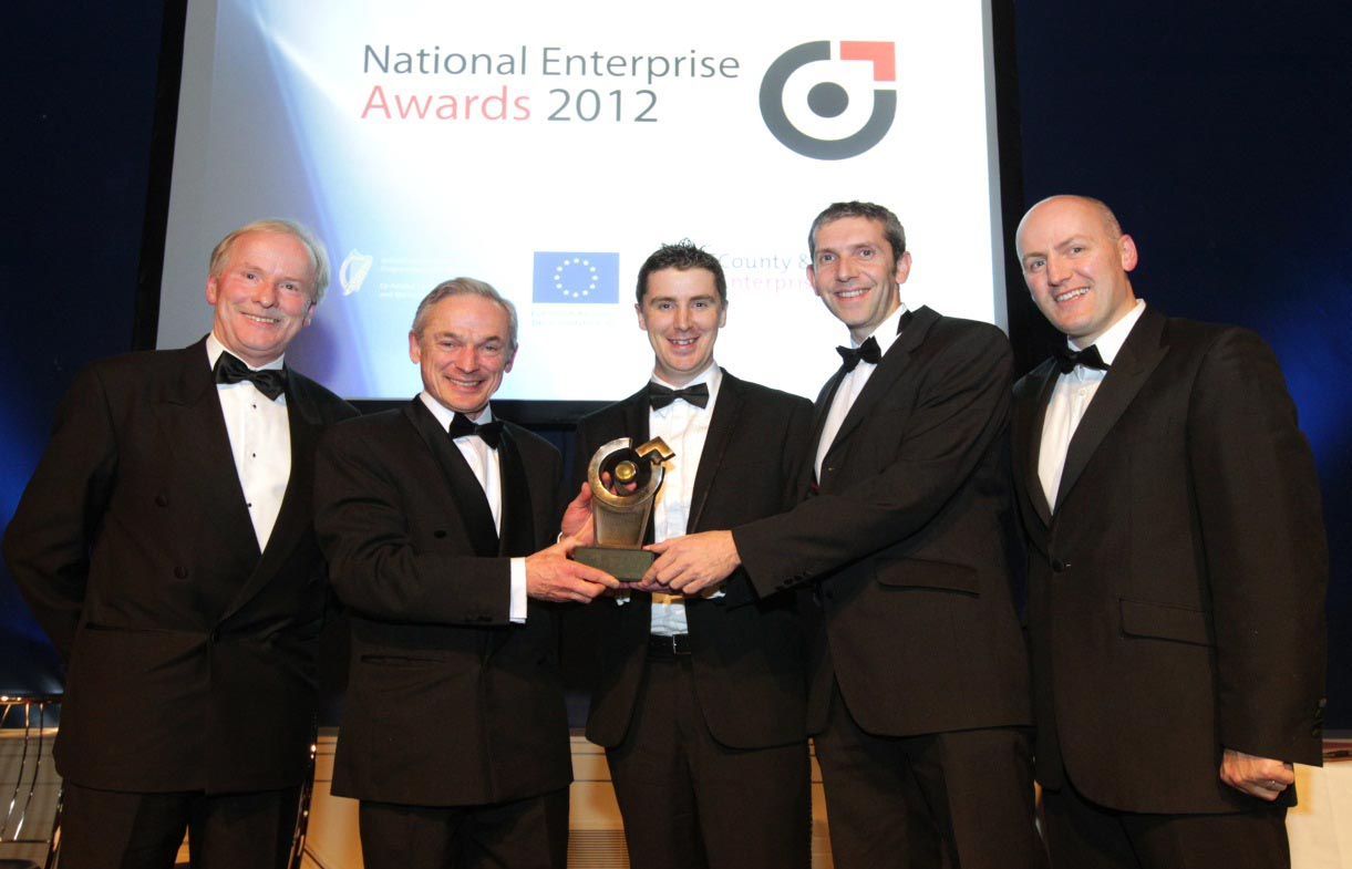 National Enterprise Awards Vincent Reynolds,County and City Enterprise Boards;Minister for Enterprise,Jobs and Innovation,Richard Bruton TD;Jim Hughes,Managing Directorof Innovate;Enda Cahill,Co-Found