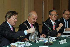 Mr John Perry T.D.; Cllr Tomás Breathnach, Cathaoirleach S&ERA; Mr Stephen Blair, Director S&ERA; at the Annual Conference 2012