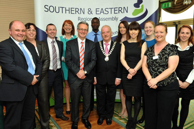 The Cathaoirleach, Cllr Tomás Breathnach with Director and staff of the Southern & Eastern Regional Assembly at the Annual Conference 2012.