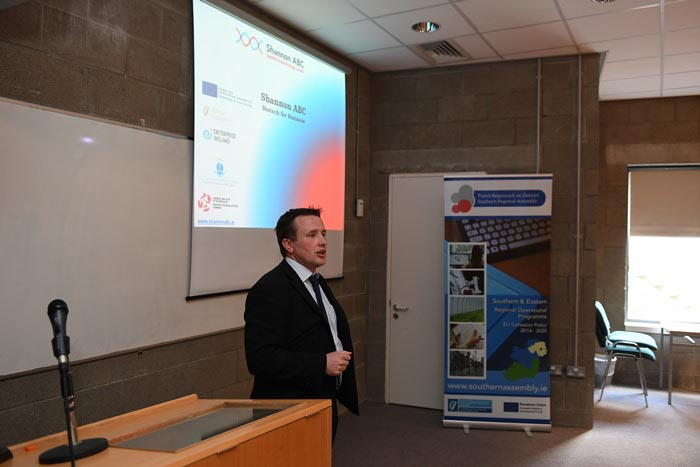 #EU in my Region Open Days Project visit to the ERDF co-funded Shannon ABC centre, Institute of Technology Tralee.  Mr Tim Yeomans, Centre Manager Shannon ABC presenting on the work of the centre.