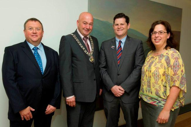 L to R: Mr. Michael Buckley, Auditor, Southern Regional Assembly (SRA), Cllr. Kevin O'Keeffe, Cathaoirleach, SRA, Mr. Michael W. Lynch, Regional Planning Officer, SRA - South West Office and Ms. Sonja