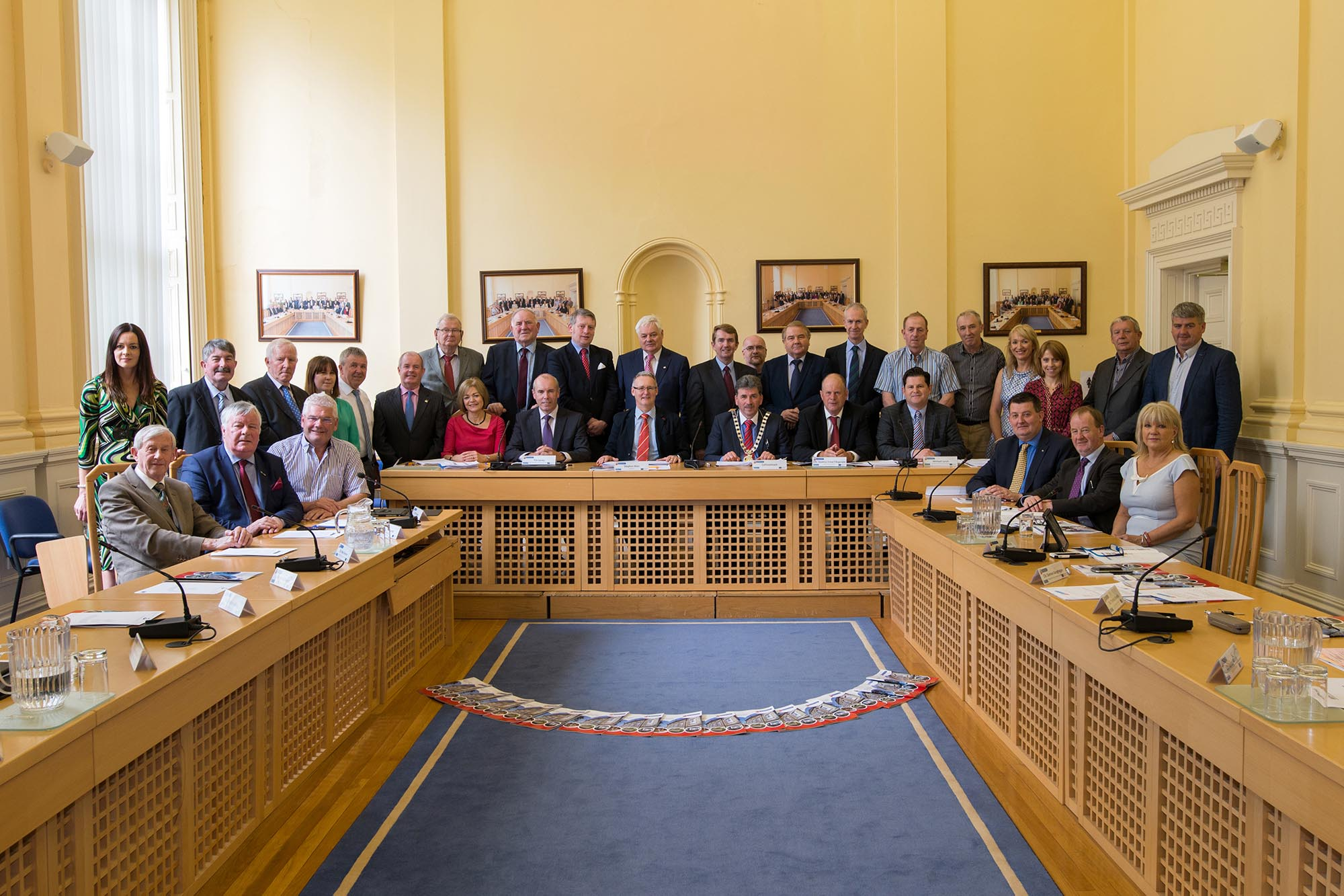 Newly elected Cathaoirleach Cllr. Michael O'Shea with members and staff of the Southern Regional Assembly at the AGM 2016