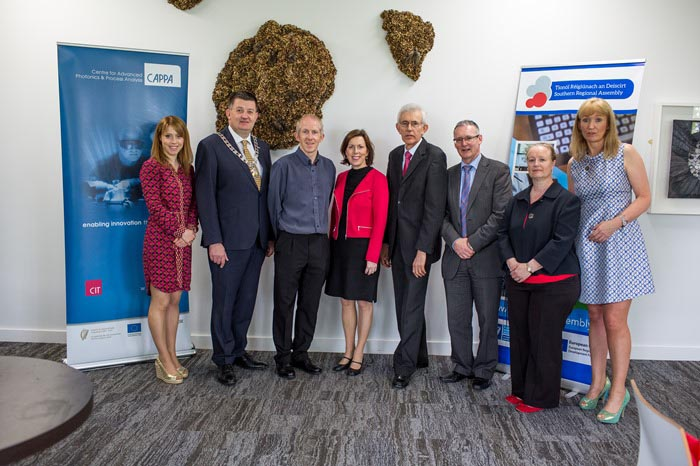 #EU in my Region Open Days Project visit to the ERDF co-funded CAPPA centre, Cork Institute of Technology (L to R) Ms Karen Coughlan, SRA; Cllr Damien Geoghegan, Cathaoirleach SRA; Dr. Liam Lewis, CAP