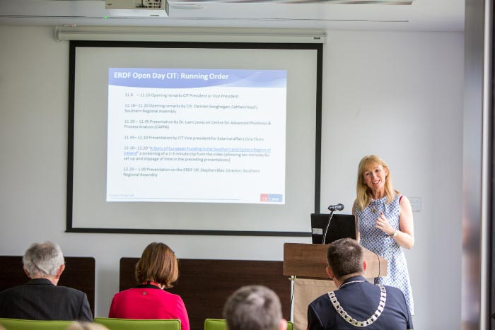 #EU in my Region Open Days Project visit to the ERDF co-funded CAPPA centre, Cork Institute of Technology. Ms Derville Brennan, Research & Communications Officer, presenting on the benefits of ERDF fu