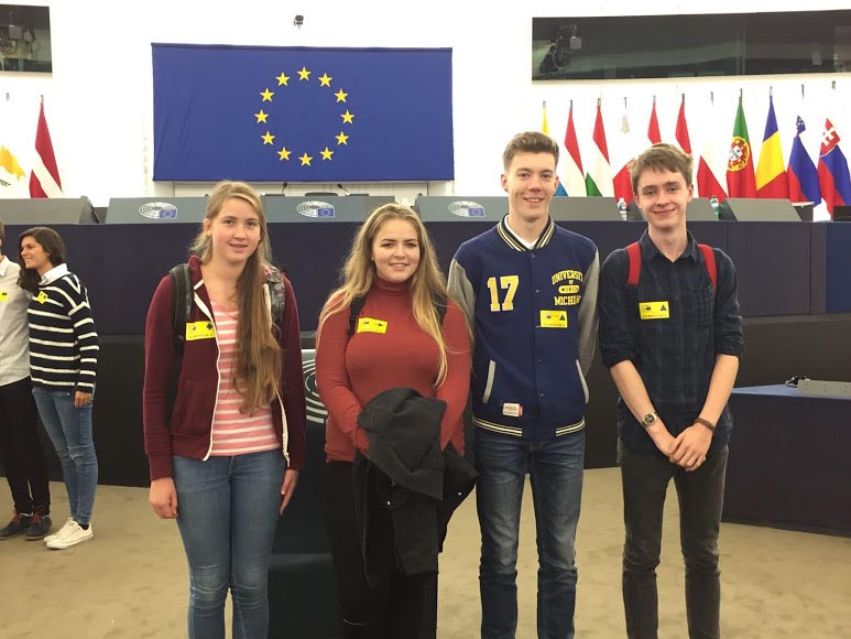 Winners of the Graduate.ie Quiz at the European Parliament in Strasbourg including Eoghan Gethings.  Image Credit - Graduate.ie