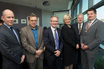 Visit of Commissioner Crețu to Trinity College Dublin; Left to Right - Dr. Diarmuid O'Brien, Director of Research and Innovation, Trinity College, Dublin Professor Michael Morris, AMBER  Director, Mr