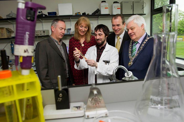 #EU in my Region Open Days Project visit to the ERDF co-funded MiCRA centre, Institute of Technology Tallaght. (L to R) Jack McDonnell, Industrial Liaison Manager, IT Tallaght; Derville Brennan, SRA;