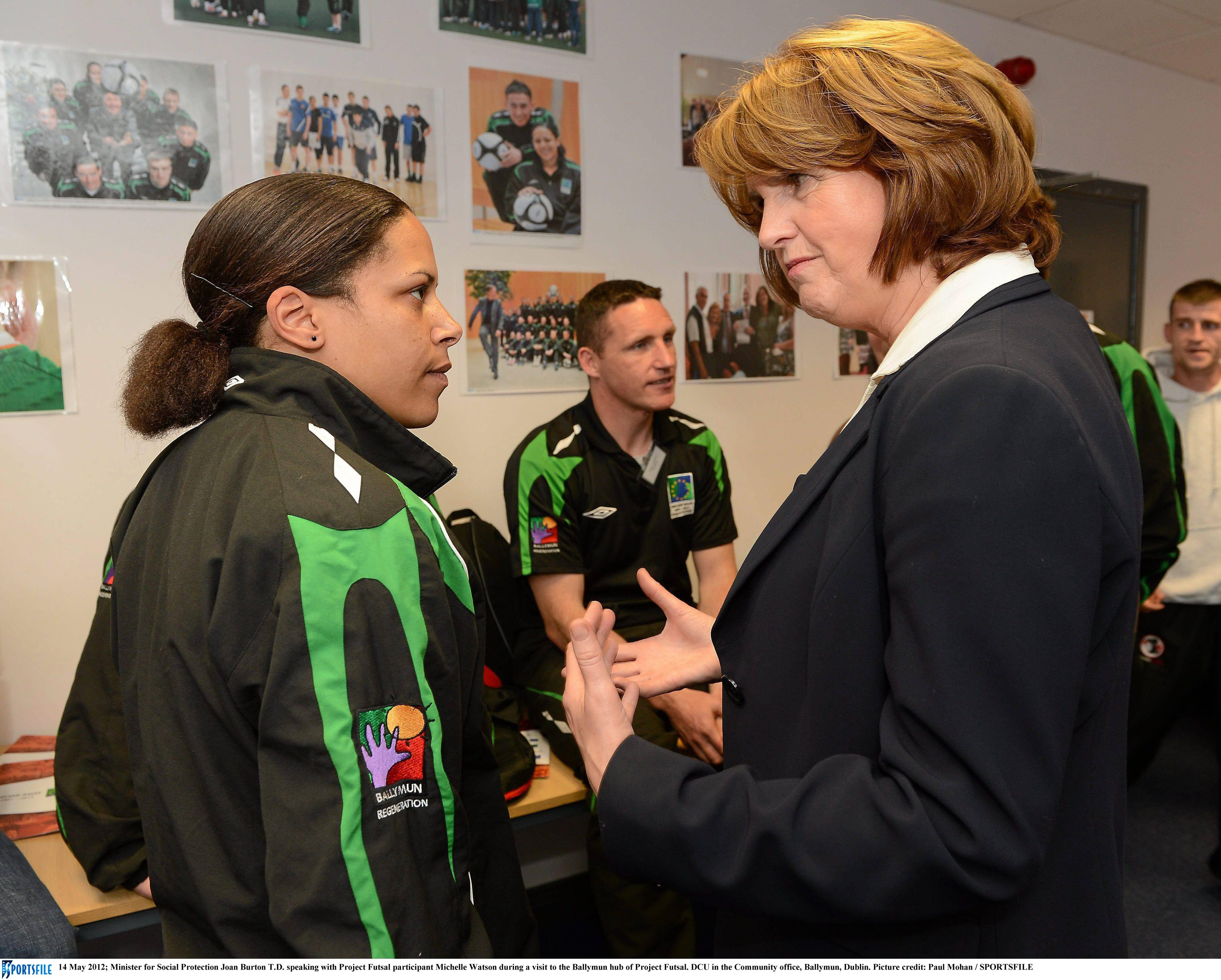 Minister for Social Protection, Joan Burton T.D. pictured during a visit to the Project FUTSAL Ballymun training hub with project FUTSAL participant Michelle Watson. Picture credit: Paul Mohan/SPORTSF