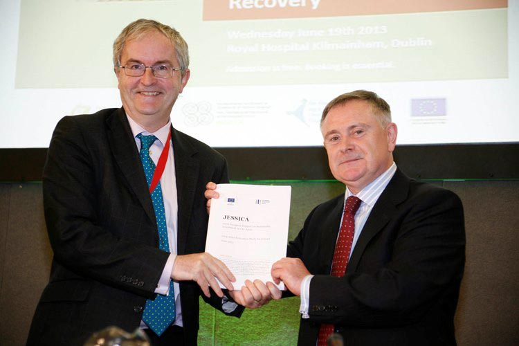 Mr Jonathan Taylor, Vice President of the European Investment Bank (EIB) and Minister Howlin co-launched the report of a feasibility study into the potential introduction of EIB-backed financial instr