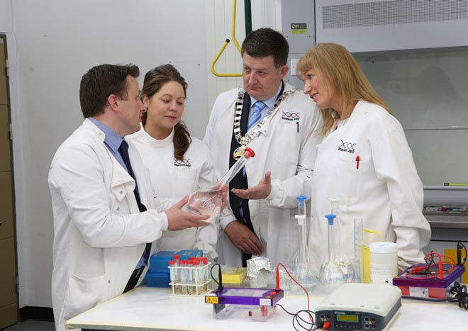 #EU in my Region Open Days Project visit to the ERDF co-funded Shannon ABC centre, Limerick Institute of Technology. (L to R) Tim Yeomans, Shannon ABC; Dr Bridget Breen, Shannon ABC; Cllr Damien Geo
