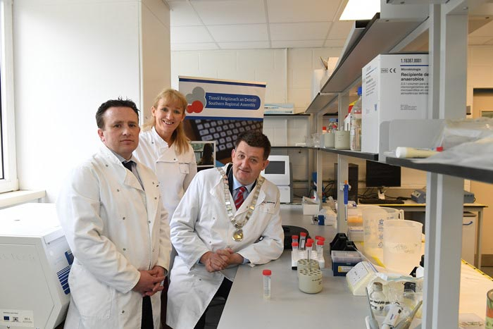 #EU in my Region Open Days Project visit to the ERDF co-funded Shannon ABC centre, Institute of Technology Tralee. (L to R) Tim Yeomans, Shannon ABC; Derville Brennan, SRA; Cllr Damien Geoghegan, SR