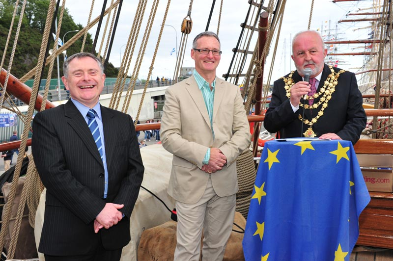Brendan Howlin T.D., Minister for Public Expenditure and Reform with Stephen Blair, Director, S&E Regional Assembly and Cllr. Pat Hayes, Mayor of Waterford City, launching A Regional Story aboard the