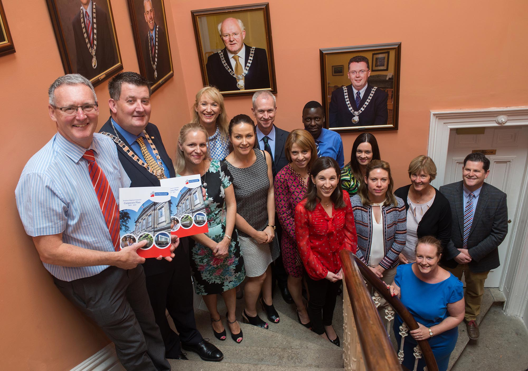 Staff and Cllr. Damien Geoghegan at the launch of the Assembly's Corporate Plan 2015-2019