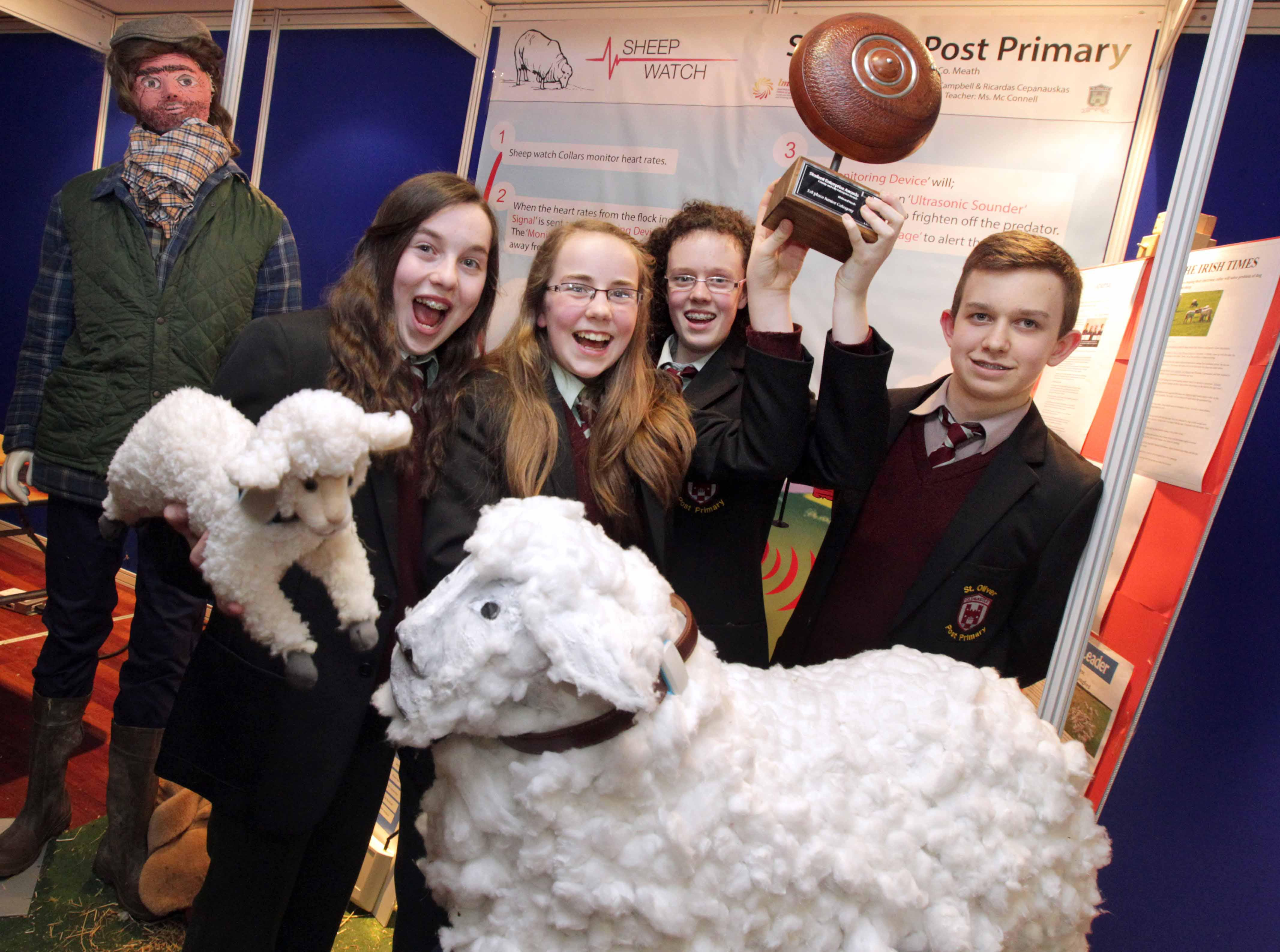 Emma McCabe (14), Zoe Maguire (13), Edel Campbell (13) and Ricardas Cepanauskas (14) of 'Sheep Watch' from St. Oliver Post Primary School, Oldcastle, Co. Meath winners of the Junior Category  of the S
