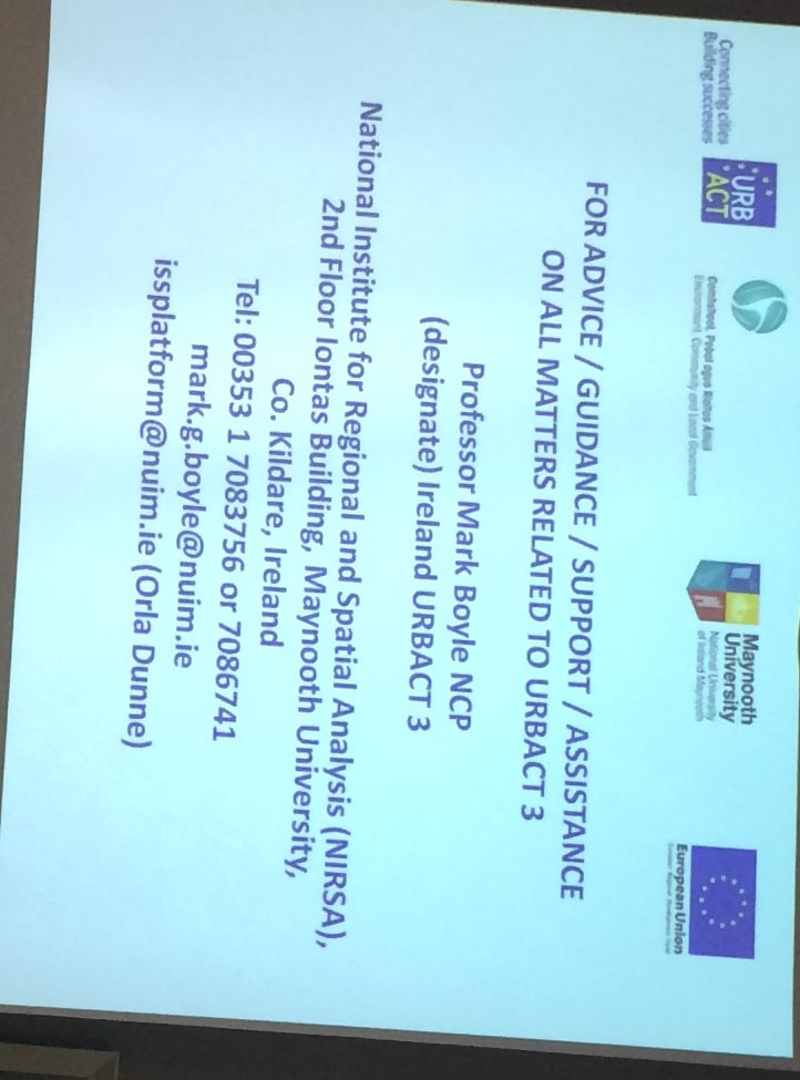 Contact details for Ireland National Contact Point for URBACT III