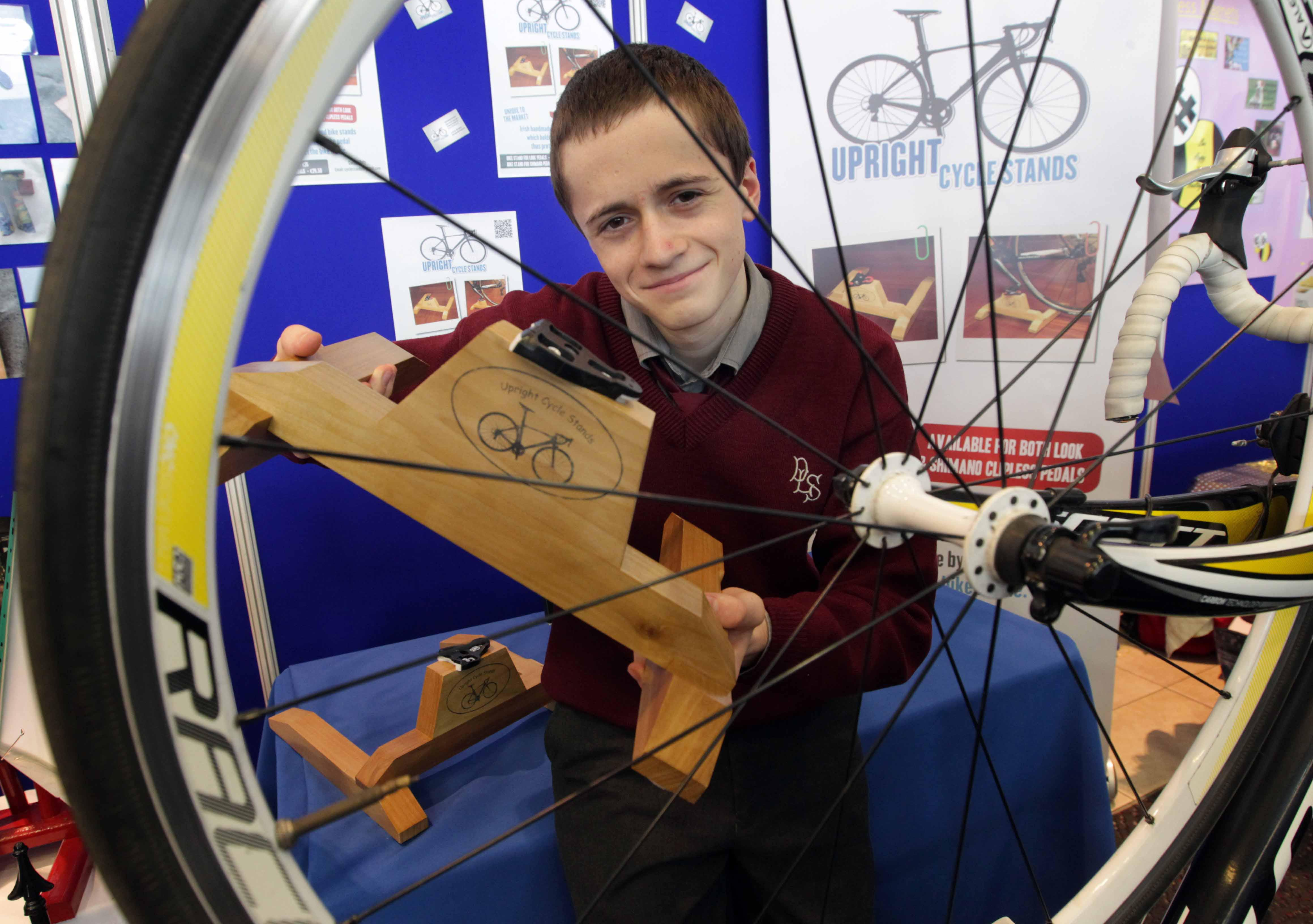 Cathal Daly (16) of 'Upright Cycle Stands' from De la Salle College, Waterford City won the Senior Category of the Student Enterprise Awards 2014 NewsPhotography: Mark Stedman from Photocall Ireland