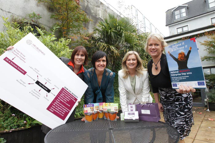 National Womens Enterprise Day Caroline McEnery (HR & Business Solutions);Sarah Nic Lochlainn (Aruna Sauces);Alison Banton (Brooke & Shoals Fragrances) and Fleur Creed (Genesis Business College)